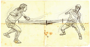 Sport, Table tennis, Ping-Pong. An hand drawn, line art, picture Stock Photos