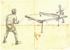 Sport, Table tennis, Ping-Pong. An hand drawn, line art, picture Stock Images