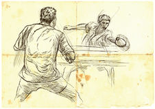 Sport, Table tennis, Ping-Pong. An hand drawn, line art, picture Royalty Free Stock Photos