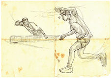 Sport, Table tennis, Ping-Pong. An hand drawn, line art, picture Royalty Free Stock Images