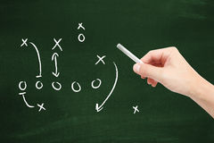Sport tactics. On a blackboard Stock Photography