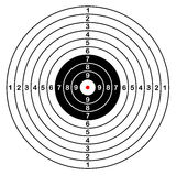 Sport target vector shooting. Blank template for sport target vector shooting competition. Clean target with numbers for set shooting range or pistol shooting Stock Images