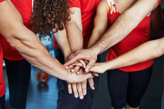 Sport team. Close-up of sport team stacking hands. Concept of fitness community, partnership and cooperation stock photos