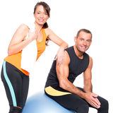 Sport team. Sport couple in front of white background Stock Image