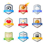 Sport team emblems shields, vector set Royalty Free Stock Photos