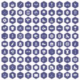 100 sport team icons hexagon purple Stock Image