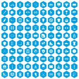 100 sport team icons set blue. 100 sport team icons set in blue hexagon isolated vector illustration Royalty Free Illustration