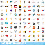 100 sport team icons set, cartoon style. 100 sport team icons set in cartoon style for any design vector illustration Stock Image