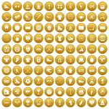 100 sport team icons set gold. 100 sport team icons set in gold circle isolated on white vectr illustration Stock Images
