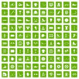 100 sport team icons set grunge green. 100 sport team icons set in grunge style green color isolated on white background vector illustration Royalty Free Stock Photos