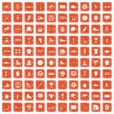 100 sport team icons set grunge orange. 100 sport team icons set in grunge style orange color isolated on white background vector illustration Stock Photo