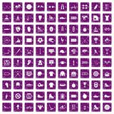 100 sport team icons set grunge purple. 100 sport team icons set in grunge style purple color isolated on white background vector illustration Stock Photos