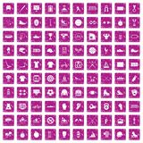 100 sport team icons set grunge pink. 100 sport team icons set in grunge style pink color isolated on white background vector illustration Stock Photo