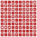 100 sport team icons set grunge red. 100 sport team icons set in grunge style red color isolated on white background vector illustration Royalty Free Stock Photography