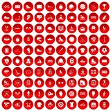 100 sport team icons set red. 100 sport team icons set in red circle isolated on white vectr illustration vector illustration