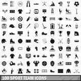 100 sport team icons set, simple style. 100 sport team icons set in simple style for any design vector illustration Royalty Free Stock Photos