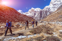 Sport Team of Mountain Climbers walking on Footpath. Among Rocks and Walls approaching to high Altitude Camp site during bright Spring Day with shining Sun stock images