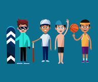Sport team players together graphic Stock Image