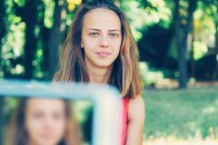 Sport technologia i kobieta Fotografia Stock