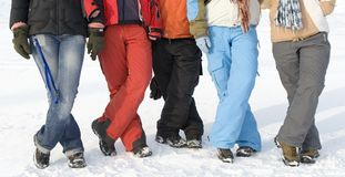 Sport teenagers on snow Royalty Free Stock Photo