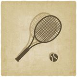 Sport tennis logo old background Royalty Free Stock Image