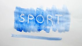Sport text inscription watercolor artist paints blot isolated on white background art. Sport text inscription watercolor artist paints blot isolated on white stock video