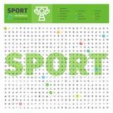 Sport Thematische Inzameling van Lijnpictogrammen Stock Afbeelding
