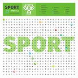 Sport-thematische Sammlung der Linie Ikonen Stockbild