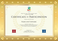Sport theme certificate of participation template Royalty Free Stock Images