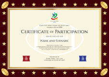Sport theme certification of participation template. For sport or rugby event vector illustration