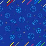 Sport theme seamless pattern background; football; baseball; vol Royalty Free Stock Images