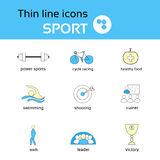 Sport Thin Line Icons Set Collection Royalty Free Stock Image