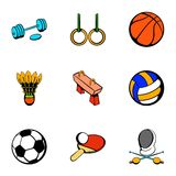Sport things icons set, cartoon style Stock Photo