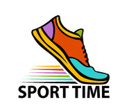 Sport time motivational colorful banner. With sport running fitness sneaker in start position Stock Photo