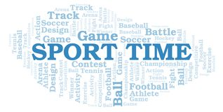 Sport Time word cloud. Wordcloud made with text only royalty free illustration