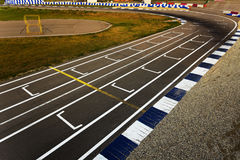 Sport track turn. On sunset stock photography
