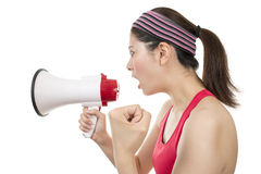 Sport Trainer with Megaphone Stock Photo