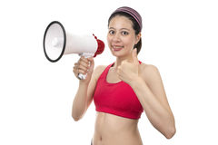 Sport Trainer with Megaphone Royalty Free Stock Image