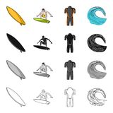 Sport, training, competitions, and other web icon in cartoon style.Surfing, sea, ocean icons in set collection. Sport, training, competitions, and other  icon Royalty Free Stock Photos