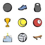 Sport training icons set, cartoon style. Sport training icons set. Cartoon illustration of 9 sport training vector icons for web Stock Image