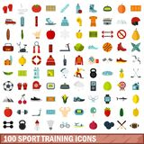 100 sport training icons set, flat style. 100 sport training icons set in flat style for any design vector illustration Stock Illustration