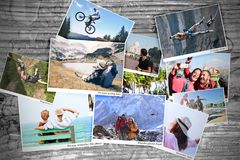 Sport and travel memory photos stock image
