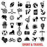 Sport, travel, tourism an recreation icons set. Black sport and travel icons set with ball, airplane, passport, camera, luggage, sun, medal, trophy, flag Royalty Free Stock Photos