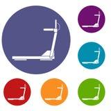 Sport treadmill running road equipment icons set Stock Images