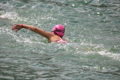 Sport triathlon swimming. A female triathlete swimming front crawl at the London Triathlon in Docklands Royalty Free Stock Images