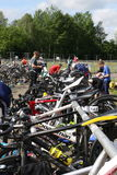 Sport triathlon transition. Lots of bikes lined up in transition during a triathlon at Dorney Lake, England Royalty Free Stock Photography