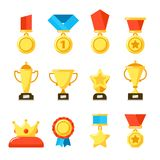 Sport trophy award, gold championship goblet and awarding reward cup. Golden awards at rewards ceremony vector icons set stock illustration