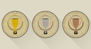 Sport trophy  icons in retro style for the first place, second place and third place with laurel wreath and stars. Gold, sil Stock Photography