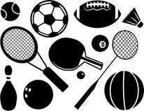 sport två för silhouettes för spelare för bollfotbollsymboler Arkivbilder