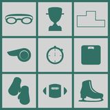 sport två för silhouettes för spelare för bollfotbollsymboler stock illustrationer